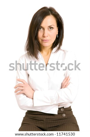 Isolated portrait shot of a beautiful caucasian woman - stock photo