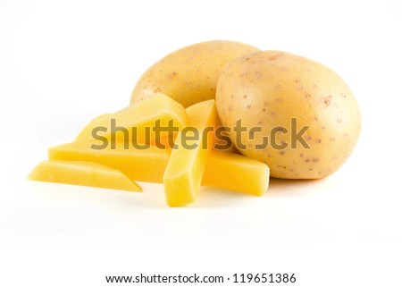 Isolated potatoes with french fries on white background - stock photo