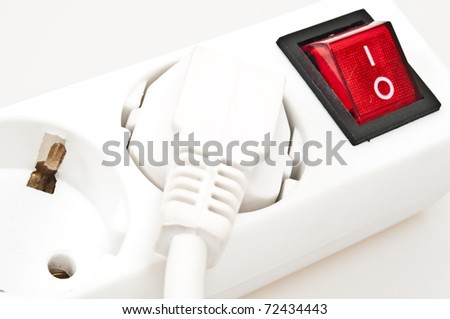Isolated power outlet with red button