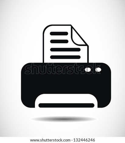 Isolated print icon on white background. - stock photo