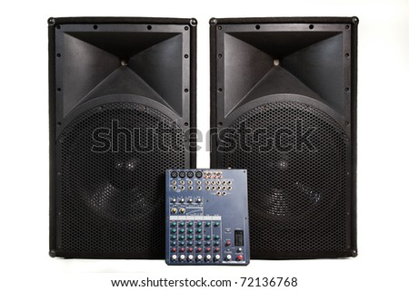 Isolated professional audio stage equipment suitable for live performance or club usage - stock photo