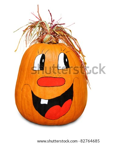 Isolated pumpkin with happy painted face and straw hair - stock photo