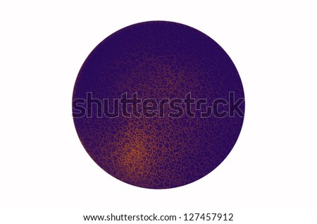 Isolated purple orange color gradient three dimensional sphere with fine network texture on white background - stock photo