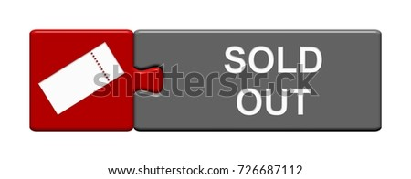 Isolated Puzzle Button with Ticket Symbol showing Sold Out