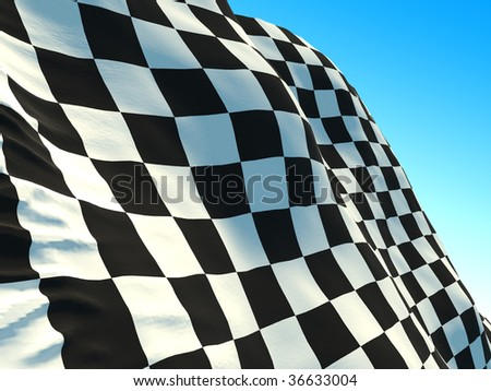 isolated racing flag on sky background - stock photo