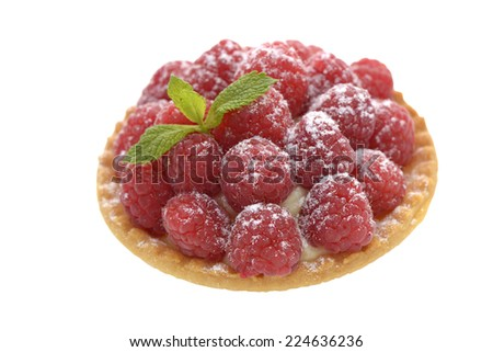 Isolated raspberry tartlet on white background - stock photo
