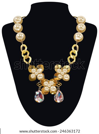 Isolated Raster Golden Necklace With Pearls,  - stock photo