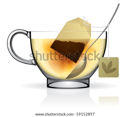 Isolated raster version of vector image of a tea bag in the cup with hot water (contain the Clipping Path)