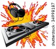 Isolated raster version of vector image of DJ control panel on a fiery ground (contain the Clipping Path) - stock photo