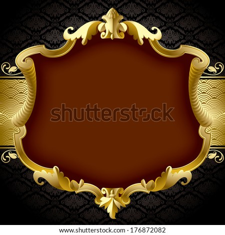Isolated raster version of vector image of the gold baroque frame against a black ornamental background (contain the Clipping Path)