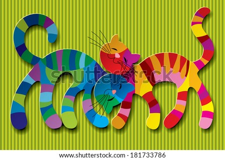 Isolated raster version of vector image of two paper multicolored cats in love against a light green background (contains Clipping Path) - stock photo