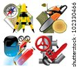 Isolated raster version of vector set of detailed job occupation icons with tools and equipment - stock photo