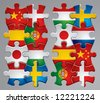 Isolated raster version of vector set of puzzle flag icons 2 (contain the Clipping Path of every object) - stock vector