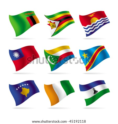 Isolated raster version of vector set of world flag (contain the Clipping Path of all objects)