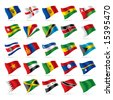 Isolated raster version of vector set of world flags 5 (contain the Clipping Path of all objects) - stock vector