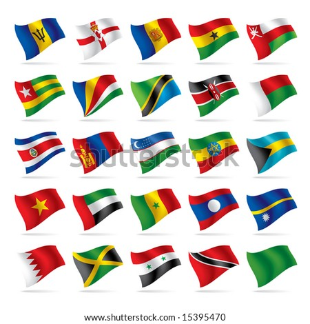 Isolated raster version of vector set of world flags 5 (contain the Clipping Path of all objects)