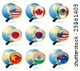 Isolated raster version of vector zoom world flag icons with a globe - stock photo
