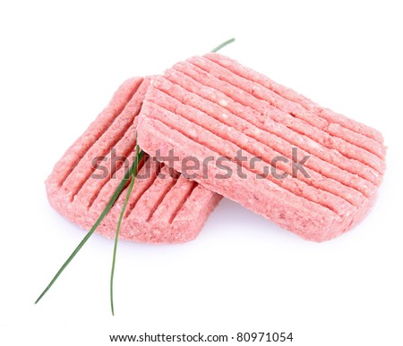 isolated raw minced beef - stock photo