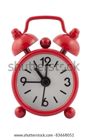 Isolated red alarm clock with clipping path