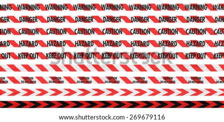 Isolated Red and White Barrier Tape Line Collection - Caution/Hazard/Warning/Danger/Keep Out/Stripes/Arrows - stock photo