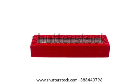 Isolated red button box on white background
