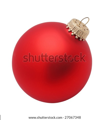 isolated red christmas ornament tree bulb on white background - stock photo