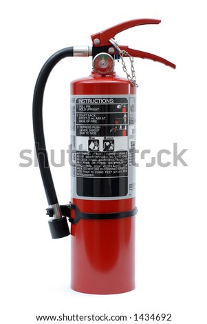 Isolated Red Fire Extinguisher with Label - stock photo