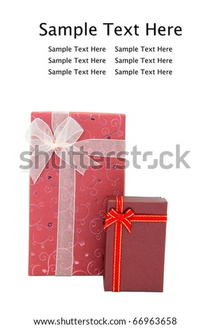 isolated red gift boxes with space for text