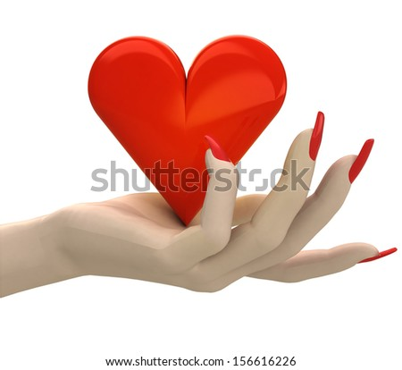 isolated red lovely heart in women hand render illustration