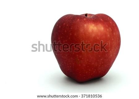 Isolated red orange fresh apple on clear white background - stock photo
