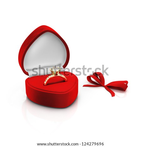 Isolated red ring box with bow on white background - stock photo