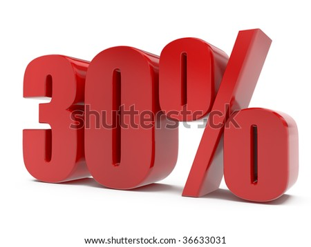 isolated red shiny percent symbol, on white background - stock photo