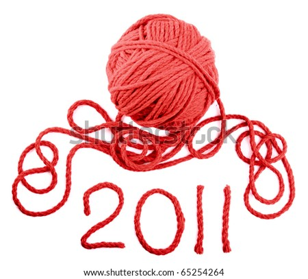 Isolated red skein on a white background - stock photo
