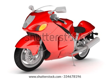 Isolated red sports bike.