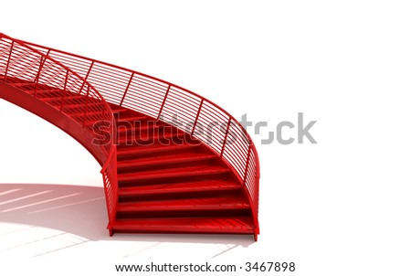 isolated red stairs - stock photo