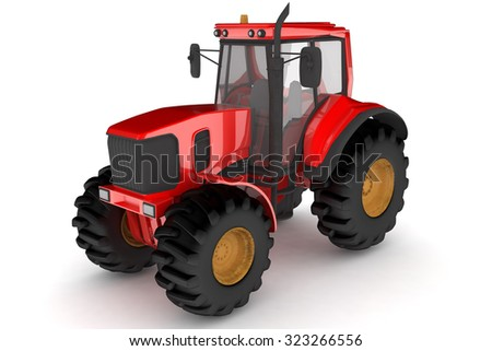 Isolated red tractor.