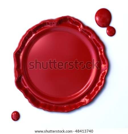 isolated red wax seal on white background - stock photo