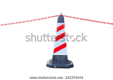 Isolated red-white traffic cone and chain with clipping path - stock photo