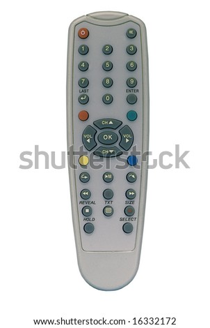 Isolated remote control on isolated white background - stock photo