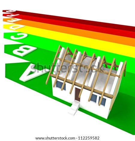 isolated rendering of sustainable house concept plan with solar panels on the roof standing of plan - stock photo