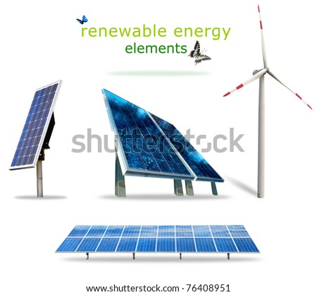 Isolated renewable energy elements for your prints - stock photo
