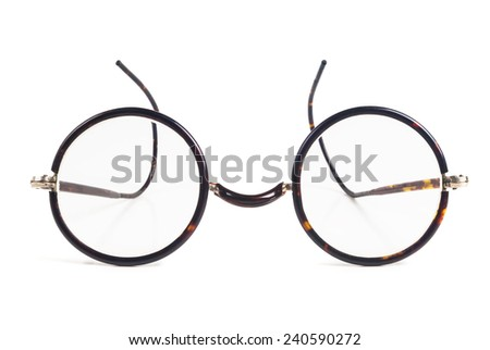 Isolated retro, vintage glasses on white background. - stock photo