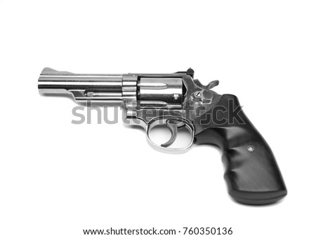 Isolated revolver handgun in white background