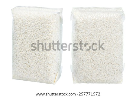 isolated rice packs on white background - stock photo