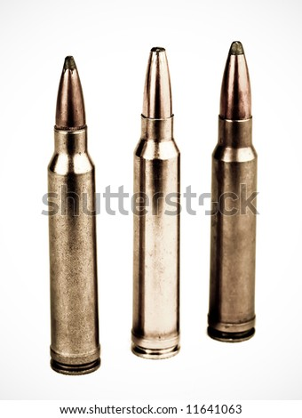 isolated rifle ammunition on white background - stock photo