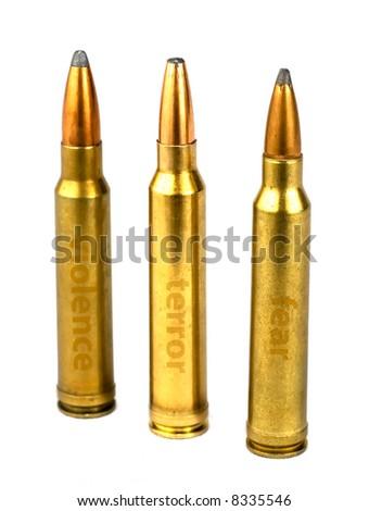 isolated rifle ammunition on white background - stock photo