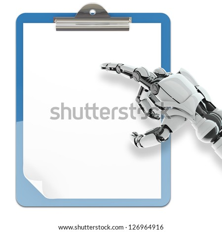 Isolated robotic arm pointing on paper pad holder on white background - stock photo
