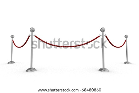 Isolated rope barriers - stock photo