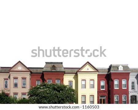 isolated row houses on white. - stock photo