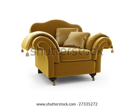 isolated royal armchair against white background
